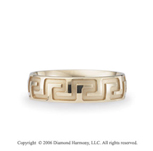 14k Yellow Gold Lg Greek Key 6mm C/F Fancy Wedding Band