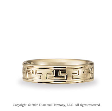 14k Yellow Gold Greek Key 6mm C-Fit Fancy Wedding Band