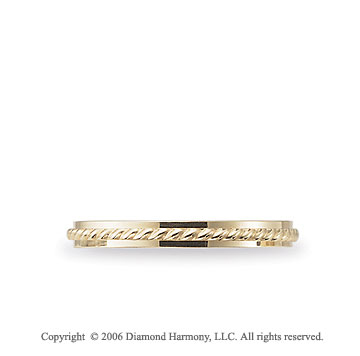 14k Yellow Gold Rope 2mm Comfort Fit Fancy Wedding Band