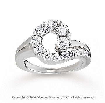 14k White Gold 1.00 Carat Round Top Diamond Journey Ring