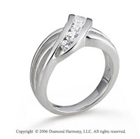 14k White Gold Channel .50 Carat Diamond Journey Ring