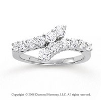 14k White Gold Kissing .50 Carat Diamond Journey Ring