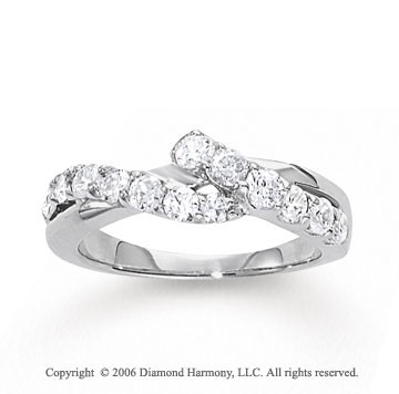 14k White Gold Crossover .50 Carat Diamond Journey Ring