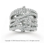 14k White Gold Trendy 1.35 Carat Diamond Right Hand Ring
