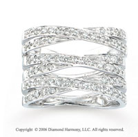 14k White Gold Crossing Trio 3/4 Carat Diamond Right Hand Ring