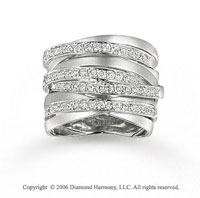 14k White Gold 8 Layer 1 Carat Diamond Right Hand Ring