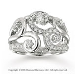 14k White Gold Spiral .50 Carat Diamond Right Hand Ring