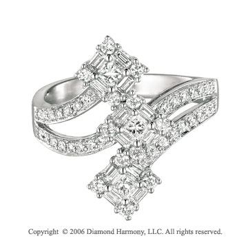 14k White Gold Square Belt .75 Carat Diamond Right Hand Ring