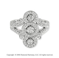 14k White Gold Buttons 1/2  Carat Diamond Right Hand Ring