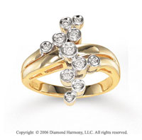 14k Yellow Gold Retro Mod 1/4 Carat Diamond Right Hand Ring