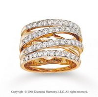 14k Yellow Trendy Gold 1.00 Carat Diamond Right Hand Ring