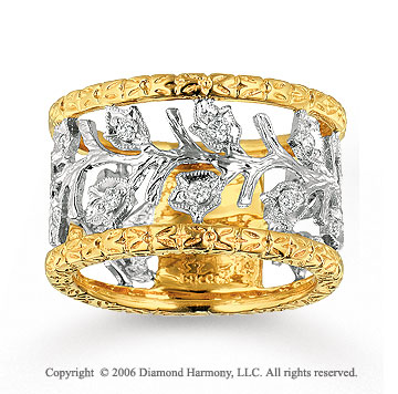 14k Two Tone Gold Carved .30 Carat Diamond Fashion Ring