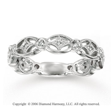14k White Gold Filigree Round Diamond Stackable Ring