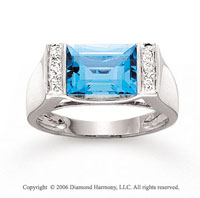 14k White Gold Blue Topaz Baguette Diamond Ring