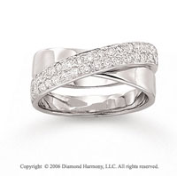 14k White Gold Sash 1/2 Carat Diamond Right Hand Ring