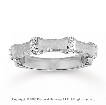 14k White Gold Hammered Diamond Stackable Ring