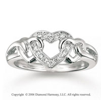 14k White Gold Trio of Hearts 0.10 Carat Diamond Ring