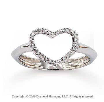 14k White Gold Open Heart 0.10 Carat Diamond Ring