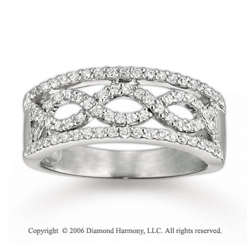 14k White Gold Weaving Waves 1/2 Carat Diamond Ring