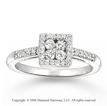 14k White Gold Square Prong 1/3 Carat Diamond Ring