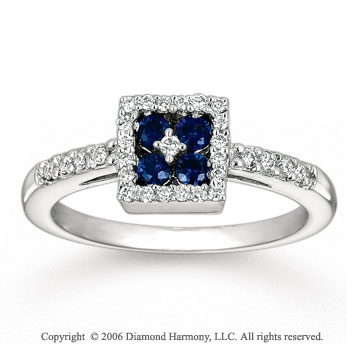 14k White Gold Round Blue Sapphire Prong Diamond Ring