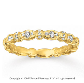 14k Yellow Gold Round 1/3 Carat Diamond Stackable Ring