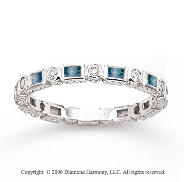 14k White Gold Bezel Blue Sapphire Diamond Stackable Ring