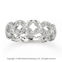 14k White Gold Butterflies Prong Diamond Stackable Ring