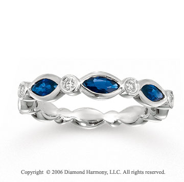 14k White Gold Bezel Marquise Sapphire Stackable Ring