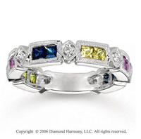14k White Gold Tricolor Gemstone Diamond Stackable Ring