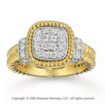 14k Two Tone Gold Milgrain Rope 1/2 Carat Diamond Ring