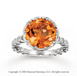 14k White Gold Diamond Round Citrine Statement Ring