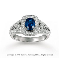 14k White Gold Oval Blue Sapphire Filigree Diamond Ring