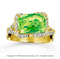14k Yellow Gold Diamond Baguette Lime Quartz Statement Ring