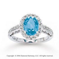 14k White Gold Diamond Oval Blue Topaz Statement Ring
