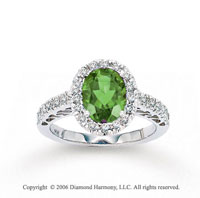 14k White Gold Diamond Oval Peridot Statement Ring