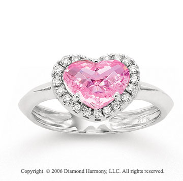 14k White Gold Pink CZ Heart Diamond Fashion Ring