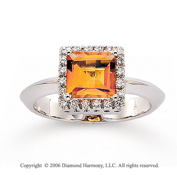14k White Gold Diamond Princess Citrine Fashion Ring