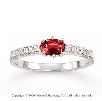 14k White Gold Oval Ruby Prong Diamond Fashion Ring
