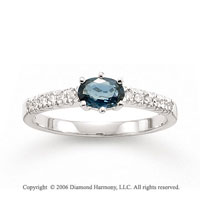 14k White Gold Oval Blue Sapphire Diamond Fashion Ring