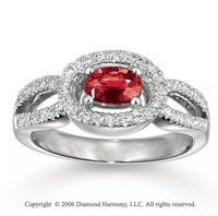 14k White Gold Oval Ruby Diamond Loops Fashion Ring
