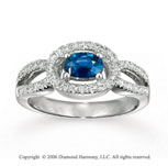 14k White Gold Oval Sapphire Diamond Loops Fashion Ring