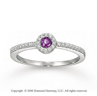 14k White Gold Round Amethyst Diamond Fashion Ring