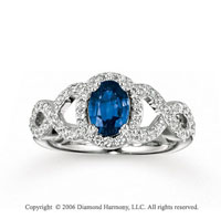 14k White Gold Oval Open Sapphire Diamond Fashion Ring