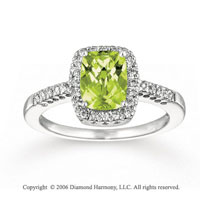 14k White Gold Diamond Cushion Lime Quartz Statement Ring