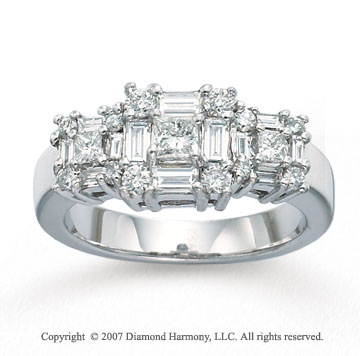 14k White Gold Multi Cut Tower 1 1/5 Carat Diamond Ring