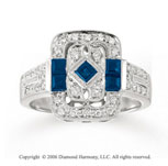14k White Gold Milgrain Princess Sapphire Diamond Ring