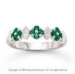 14k White Gold Floral Emerald Diamond Stackable Ring