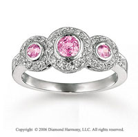14k White Gold Oval Bezel Pink Sapphire Diamond Ring