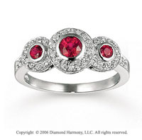 14k White Gold Oval Bezel Ruby Diamond Fashion Ring